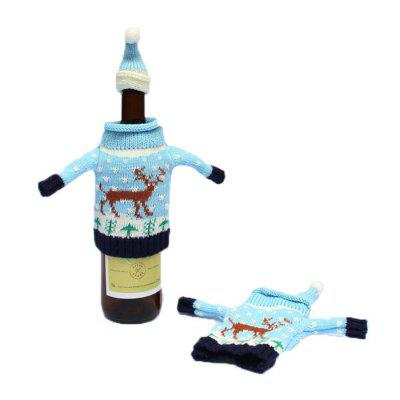 Christmas Decorative Knit Sweater Wine Bottle Covers Set