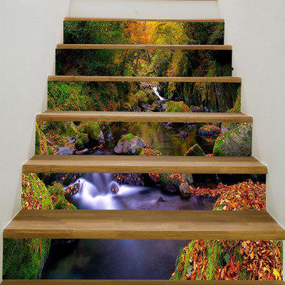 Forest Stream imprimé 6Pcs autocollants d'escalier