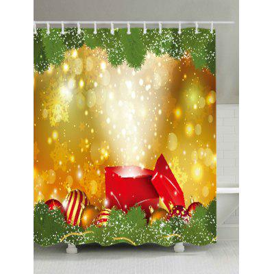 Christmas Gift Baubles Print Waterproof Shower Curtain