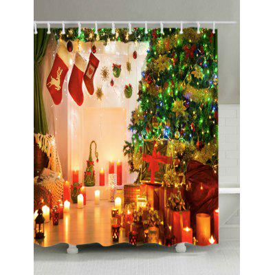 Christmas Tree Stockings Print Waterproof Shower Curtain