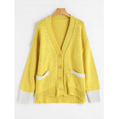 Plunging Neck Button Up Contrast Cardigan