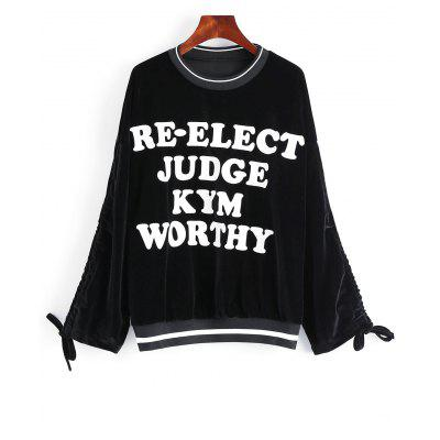 Drop Shoulder Letter Crew Neck Sweatshirt