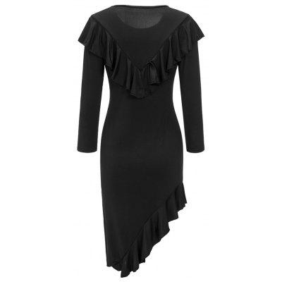 Asymmetric Ruffles Long Sleeve DressWomens Dresses<br>Asymmetric Ruffles Long Sleeve Dress<br><br>Dresses Length: Mid-Calf<br>Elasticity: Elastic<br>Embellishment: Ruffles<br>Material: Polyester, Spandex<br>Neckline: Round Collar<br>Occasion: Going Out, Casual<br>Package Contents: 1 x Dress<br>Pattern Type: Solid Color<br>Season: Fall, Spring<br>Silhouette: Bodycon<br>Sleeve Length: Long Sleeves<br>Style: Brief<br>Weight: 0.3500kg<br>With Belt: No