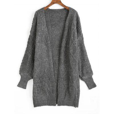 Lantern Sleeve Cable Knitted Cardigan