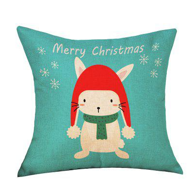 Christmas Cartoon Rabbit Print Decorative Linen Sofa Pillowcase