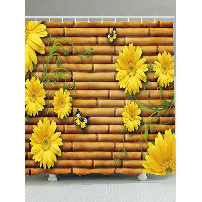 Bamboo Fence Sunflowers Printed Waterproof Shower Curtain
