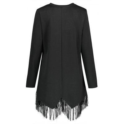 Plus Size Fringed Ring Button Embellished T-shirtPlus Size Tops<br>Plus Size Fringed Ring Button Embellished T-shirt<br><br>Collar: Round Neck<br>Embellishment: Button<br>Material: Polyester<br>Package Contents: 1 x T-shirt<br>Pattern Type: Solid<br>Season: Fall, Winter, Spring<br>Shirt Length: Long<br>Sleeve Length: Full<br>Style: Casual<br>Weight: 0.4300kg