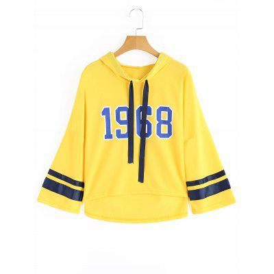 Number Ribbons Trim High Low Hoodie