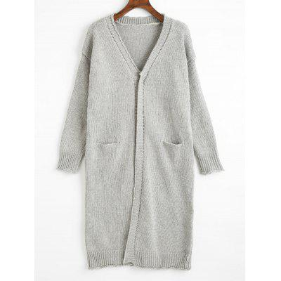 Front Pocket Button Up Knitted Longline Cardigan