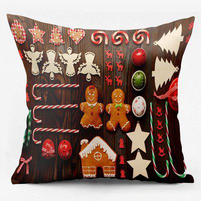 Christmas Elements Double Sided Printed Decorative Pillow Case