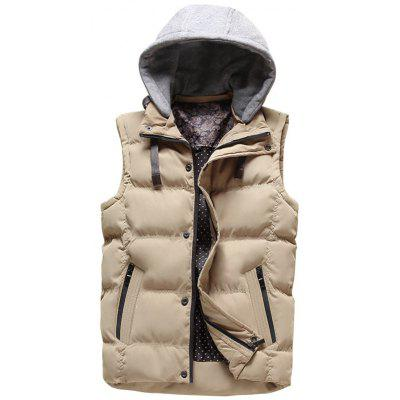 Clock Block Detachable Hood Puffer Vest