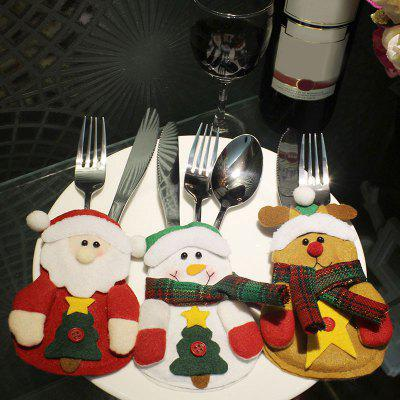 3PCS Cute Christmas Decoration Knives and Forks Cover Bags