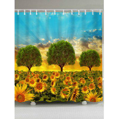 Buy BLUE AND GOLDEN Morning Sunflowers Pattern Shower Curtain for $19.26 in GearBest store