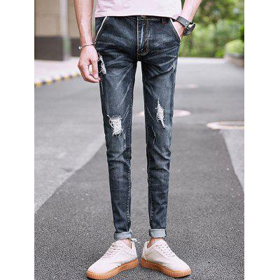 Slim Fit Whisker Distressed JeansMens Pants<br>Slim Fit Whisker Distressed Jeans<br><br>Closure Type: Zipper Fly<br>Fit Type: Skinny<br>Material: Cotton, Rayon, Polyester<br>Package Contents: 1 x Jeans<br>Pant Length: Long Pants<br>Pant Style: Pencil Pants<br>Wash: Destroy Wash<br>Weight: 0.7100kg<br>With Belt: No