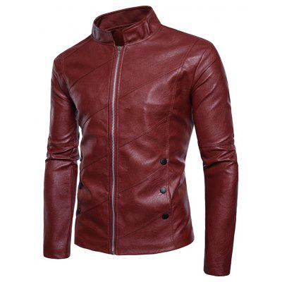 Oblique Panel Zip Up Faux Leather JacketMens Jackets &amp; Coats<br>Oblique Panel Zip Up Faux Leather Jacket<br><br>Closure Type: Zipper<br>Clothes Type: Leather &amp; Suede<br>Collar: Stand Collar<br>Material: Faux Leather, Polyester<br>Occasion: Holiday, Going Out, Party, Daily Use, Casual<br>Package Contents: 1 x Jacket<br>Season: Winter, Fall<br>Shirt Length: Regular<br>Sleeve Length: Long Sleeves<br>Style: Streetwear, Fashion, Casual<br>Weight: 0.7200kg