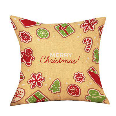 Christmas Cartoon Theme Print Decorative Linen Sofa Pillowcase