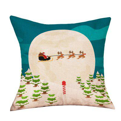 Christmas Moon Forest Print Decorative Linen Sofa Pillowcase