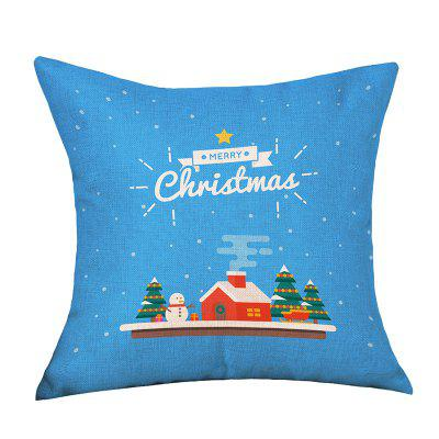 Christmas Cartoon House Print Decorative Linen Sofa Pillowcase