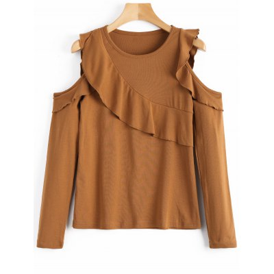 Frilled Long Sleeve Cold Shoulder Top