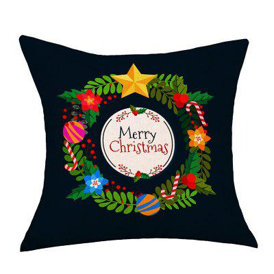 Merry Christmas Wreath Print Decorative Linen Sofa Pillowcase