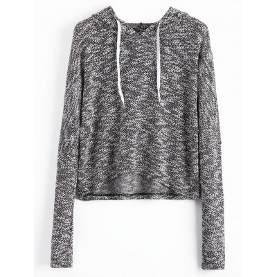 Hooded Heathered Long Sleeve Top