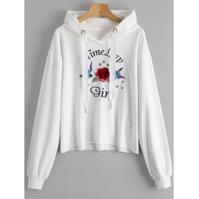 Floral and Letter Embroidered Hoodie
