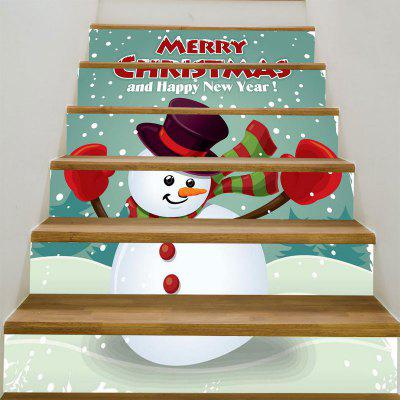Happy Snowman Pattern DIY Decorative Stair Stickers