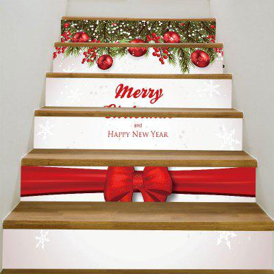 Merry Christmas Bowknot Printed Decorative Stair Stickers
