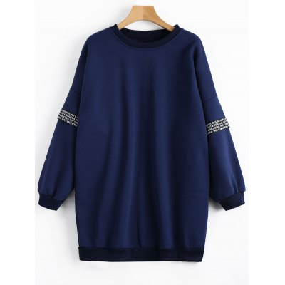 Buy Fleece Crew Neck Tunic Sweatshirt DEEP BLUE XL for $29.73 in GearBest store