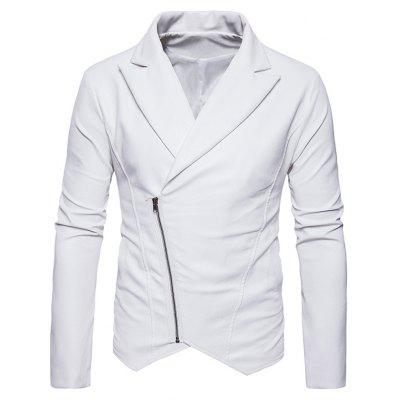 Buy Zip Up Asymmetric PU Leather Biker Jacket WHITE M for $68.45 in GearBest store