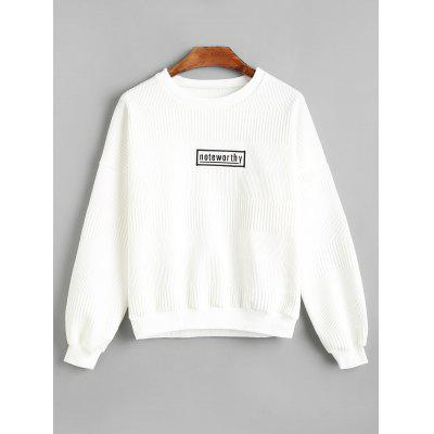 Buy Textured Badge Patched Sweatshirt WHITE M for $31.75 in GearBest store