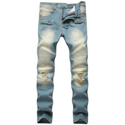 Jeans Distressed Button Biker Jeans