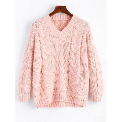 Buy V Neck Chunky Cable Knit Sweater PINK for $29.39 in GearBest store