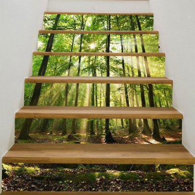 Sunlight Forest Printed 6Pcs Stair Stickers
