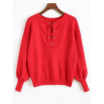 Dropped Shoulder Lantern Sleeve Lace Up Knitwear