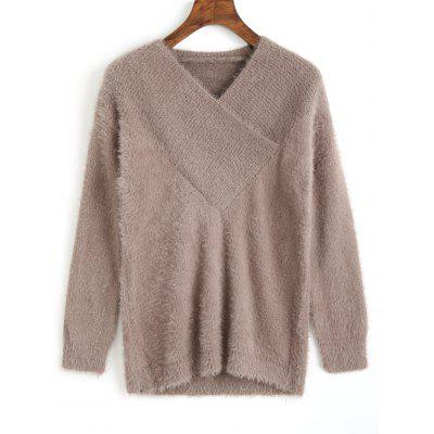 Furry V Neck Sweater