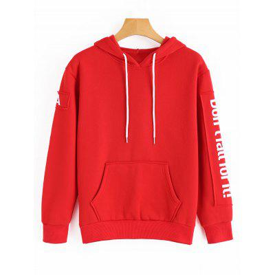 Letter Contrasting Drawstring Hoodie