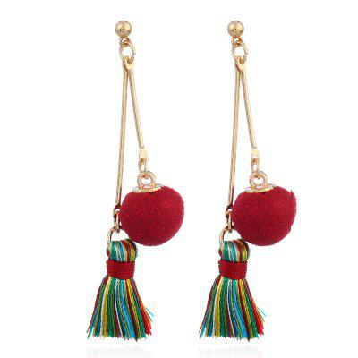 Double Linked Pom Ball Tassel Drop Earrings