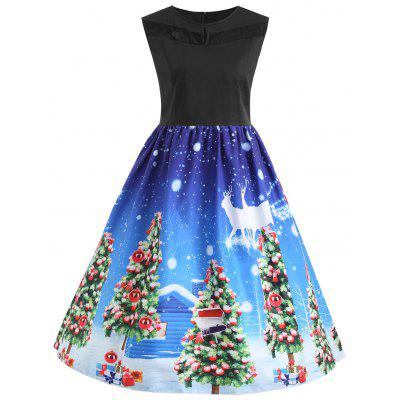 Buy BLUE 3XL Christmas Tree Lace Panel Vintage Plus Size Dress for $22.26 in GearBest store
