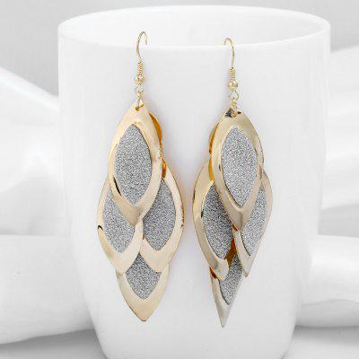 Alloy Layered Leaf Hook Earrings