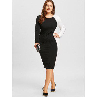 Plus Size Two Tone Bodycon DressPlus Size Dresses<br>Plus Size Two Tone Bodycon Dress<br><br>Dresses Length: Knee-Length<br>Embellishment: Ruched<br>Material: Polyester<br>Neckline: Round Collar<br>Package Contents: 1 x Dress<br>Pattern Type: Others<br>Season: Fall, Spring<br>Silhouette: Bodycon<br>Sleeve Length: Long Sleeves<br>Style: Casual<br>Weight: 0.3700kg<br>With Belt: No