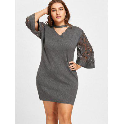 Plus Size Lace Panel Cut Out KnitwearPlus Size<br>Plus Size Lace Panel Cut Out Knitwear<br><br>Collar: V-Neck<br>Material: Acrylic<br>Package Contents: 1 x Knitwear<br>Pattern Type: Solid<br>Season: Spring, Fall<br>Sleeve Length: Three Quarter<br>Style: Fashion<br>Type: Pullovers<br>Weight: 0.5500kg