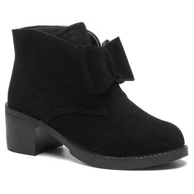 Bowknot Accent Faux Suede Ankle Boots