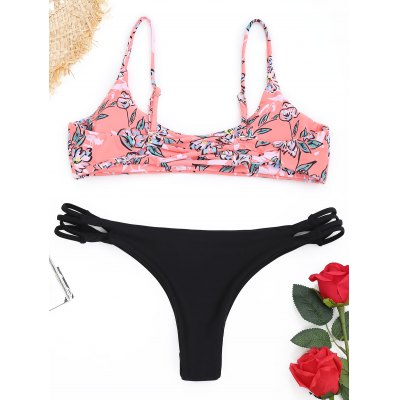 Strappy Floral Thong Bikini SetLingerie &amp; Shapewear<br>Strappy Floral Thong Bikini Set<br><br>Bra Style: Padded<br>Elasticity: Elastic<br>Embellishment: Strappy<br>Gender: For Women<br>Material: Nylon, Spandex<br>Neckline: Spaghetti Straps<br>Package Contents: 1 x Bra  1 x Briefs<br>Pattern Type: Floral<br>Style: Sexy<br>Support Type: Wire Free<br>Swimwear Type: Bikini<br>Waist: Low Waisted<br>Weight: 0.1800kg