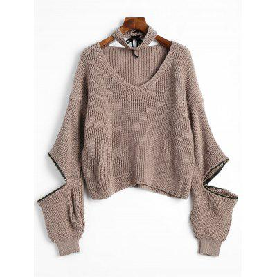 Dropped Shoulder Zip Embellished Sweater with Choker