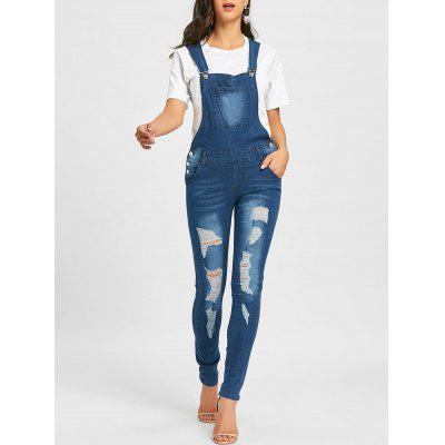 Ripped Cuffed Denim Dungarees