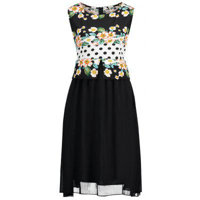 Plus Size Polka Dot Floral Print Dress