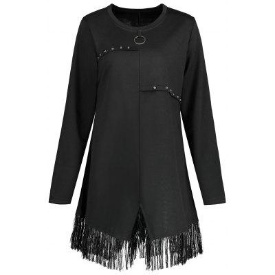 Plus Size Fringed Ring Button Embellished T-shirt