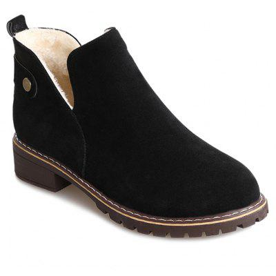 Buy Slip On Block Heel Suede Ankle Boots BLACK 37 for $26.92 in GearBest store