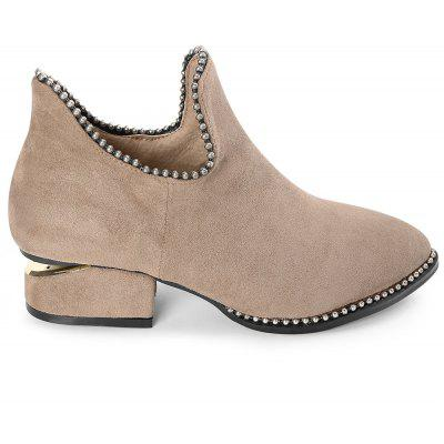 Pointed Toe Beading Ankle Boots